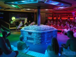 Het Sauna Theater in Thermen Soesterberg, licht, geluid en video door DSA-AVL